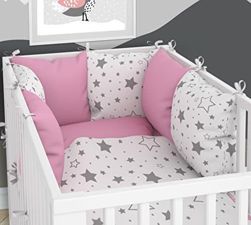 Tour de lit composé de 6 coussins avec housses pour de 6 coussins 70 x 140 cm